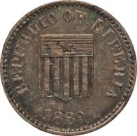 obverse of 1 Cent (1889) coin with KM# Pn18 from Liberia.