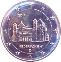obverse of 2 Euro - Federal States: Niedersachsen (2014) coin with KM# 334 from Germany. Inscription: 2014 ΠD Niedersachsen D