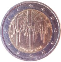 obverse of 2 Euro - Juan Carlos I - Great Mosque of Córdoba (2010) coin with KM# 1152 from Spain. Inscription: ESPAÑA 2010 M