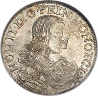 obverse of 5 Sols - Honore II (1660 - 1662) coin with KM# 35 from Monaco. Inscription: · HON II · D:G · PRIN · MONOECI ·