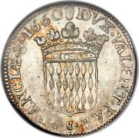reverse of 5 Sols - Honore II (1660 - 1662) coin with KM# 35 from Monaco. Inscription: DVX · VALENT · PAR · $ · FRANCIƷ& · 1660