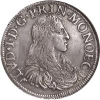 obverse of 1 Scudo - Louis I (1662 - 1682) coin with KM# 37 from Monaco. Inscription: LVD*I*D*G*PRIN*MONOECI*