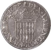reverse of 1 Scudo - Louis I (1662 - 1682) coin with KM# 37 from Monaco. Inscription: DVX*VALENT*PAR*FRANCIÆ*&1673
