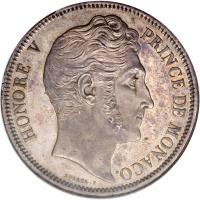 obverse of 5 Francs - Honore V (1837) coin with KM# 96 from Monaco.
