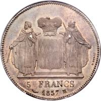 reverse of 5 Francs - Honore V (1837) coin with KM# 96 from Monaco.