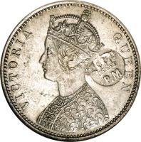obverse of 1 Rupee - Countermarked Coinage (1876) coin with KM# 41.1 from Mozambique. Inscription: VICTORIA QUEEN P.M