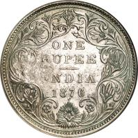 reverse of 1 Rupee - Countermarked Coinage (1876) coin with KM# 41.1 from Mozambique. Inscription: ONE RUPEE INDIA 1874