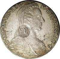 obverse of 1 Thaler - Countermarked Coinage (1780) coin with KM# 58 from Mozambique.