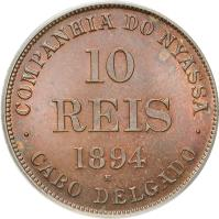 obverse of 10 Réis - Companhia do Nyassa (1894) coin with KM# Tn1 from Mozambique.