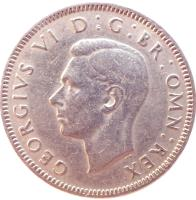 obverse of 1 Shilling - George VI - Scottish crest; With IND:IMP (1947 - 1948) coin with KM# 864 from United Kingdom. Inscription: GEORGIVS VI D:G:BR:OMN:REX