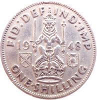 reverse of 1 Shilling - George VI - Scottish crest; With IND:IMP (1947 - 1948) coin with KM# 864 from United Kingdom. Inscription: FID:DEF · IND:IMP 19 47. K G ONE · SHILLING
