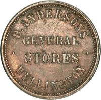 reverse of 1 Penny - D. Anderson, Wellington coin with KM# Tn3 from New Zealand. Inscription: .D.ANDERSON'S. WELLINGTON GENERAL STORES
