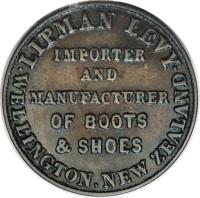obverse of 1/2 Penny - Lipman Levy, Wellington (1860) coin with KM# Tn38 from New Zealand.