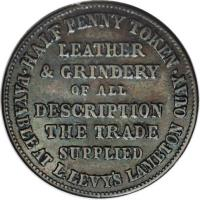 reverse of 1/2 Penny - Lipman Levy, Wellington (1860) coin with KM# Tn38 from New Zealand.