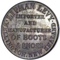 reverse of 1 Penny - Wellington & Erin Gobragh / Lipman Levy; Mule coin with KM# Tn40 from New Zealand. Inscription: .LIPMAN LEVY. WELLINGTON NEW ZEALAND IMPORTER AND MANUFACTURER OF BOOTS & SHOES