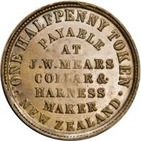 reverse of 1/2 Penny - J.W. Mears, Wellington coin with KM# Tn45 from New Zealand. Inscription: .ONE HALFPENNY TOKEN. NEW ZEALAND PAYABLE AT J.W.MEARS COLLAR & HARNESS MAKER