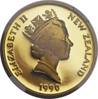 obverse of 150 Dollars - 1990 sesquicentennial (1990) coin with KM# 77 from New Zealand. Inscription: ELIZABETH II NEW ZEALAND RDM 1990