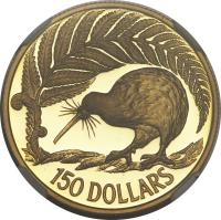 reverse of 150 Dollars - 1990 sesquicentennial (1990) coin with KM# 77 from New Zealand. Inscription: 150 DOLLARS