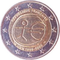 obverse of 2 Euro - 10 Years of EMU (2009) coin with KM# 1590 from France. Inscription: RÉPUBLIQUE FRANÇAISE UEM 1999 2009