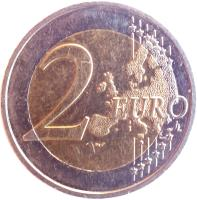 reverse of 2 Euro - 10 Years of EMU (2009) coin with KM# 1590 from France. Inscription: 2 EURO LL