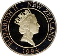 obverse of 50 Cents - H.M.S. Endeavour (1994) coin with KM# 90b from New Zealand. Inscription: ELIZABETH II · NEW ZEALAND · 1994 ·