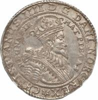 obverse of 1 Specie Daler - Christian IV (1629 - 1648) coin with KM# 12 from Norway. Inscription: CHRISTIANUS IIII D G DANI NORGREX* REGNA FIR MAT PIETAS
