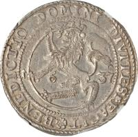 reverse of 1 Specie Daler - Christian IV (1629 - 1648) coin with KM# 12 from Norway. Inscription: BENEDICTIO DOMINI DIVITES*FACIT* 1637