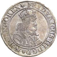 obverse of 1 Specie Daler (1651 - 1652) coin with KM# 40 from Norway. Inscription: FRIDERICUS.III.DG.DA.NOR.VAN.GO.REX*
