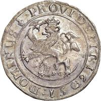 reverse of 1 Specie Daler (1651 - 1652) coin with KM# 40 from Norway. Inscription: :DOMINUS PROVIDEBIT:16*51
