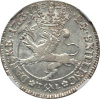 reverse of 24 Skilling (1746 - 1763) coin with KM# 236 from Norway. Inscription: .24.SKILLING* *DANSKE.1763.