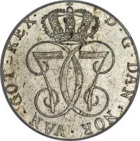 obverse of 24 Skilling Danske - Christian VII (1772 - 1788) coin with KM# 250 from Norway. Inscription: D. G. DAN. NOR. VAN. GOT. REX.