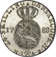 reverse of 24 Skilling Danske - Christian VII (1772 - 1788) coin with KM# 250 from Norway.