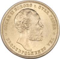obverse of 20 Kroner - Oscar II (1874 - 1875) coin with KM# 348 from Norway. Inscription: OSCAR II NORGES SVER KONGE BRODERFOLKENES VEL