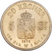 reverse of 20 Kroner - Oscar II (1874 - 1875) coin with KM# 348 from Norway. Inscription: 20 KRONER 1874 124 Stk. 1 Kil.f.G