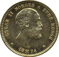 obverse of 10 Kroner - Oscar II (1874) coin with KM# 347 from Norway. Inscription: OSCAR II o. NORGES SVER.KONGE * 18 74 *