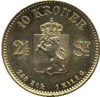 reverse of 10 Kroner - Oscar II (1874) coin with KM# 347 from Norway. Inscription: 10 KRONER 2½ SP 248 Stk 1 Kil.f.G.