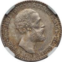 obverse of 12 Skilling - Oscar II (1873) coin with KM# 339 from Norway. Inscription: OSCAR II NORGES SVER.G.V.KONGE *BRODERFOLKENES VEL*