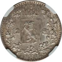reverse of 12 Skilling - Oscar II (1873) coin with KM# 339 from Norway. Inscription: 12 SK 1873