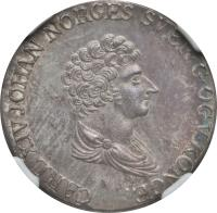 obverse of 24 Skilling - Carl XIV (1825 - 1836) coin with KM# 300 from Norway. Inscription: CARL XIV JOHAN NORGES SVER.G.OGV.KONGE.