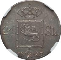 reverse of 24 Skilling - Carl XIV (1825 - 1836) coin with KM# 300 from Norway. Inscription: 24 SK: 1827/5