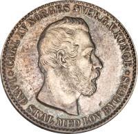 obverse of 12 Skilling - Carl XV (1865) coin with KM# 326 from Norway. Inscription: CARL XV NORGES SVER.G.V.KONGE *LAND SKAL MED LOV BYGGES*