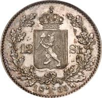 reverse of 12 Skilling - Carl XV (1865) coin with KM# 326 from Norway. Inscription: 12 SK 18 65