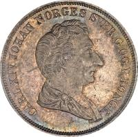 obverse of 1/2 Specie Daler - Carl XIV (1844) coin with KM# 312 from Norway. Inscription: CARL XIV JOHAN NORGES SVER.G.OG V.KONGE