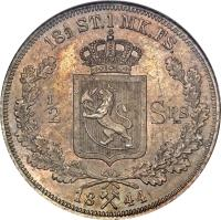 reverse of 1/2 Specie Daler - Carl XIV (1844) coin with KM# 312 from Norway. Inscription: 18½ ST.1 MK.FS. 1/2 SPS= 18X44