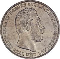 obverse of 1 Specie Daler - Carl XV (1864 - 1869) coin with KM# 325 from Norway. Inscription: CARL XV NORGES SVER.G.V.KONGE * LAND SKAL MED LOV BYGGES *