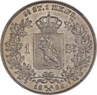 reverse of 1 Specie Daler - Carl XV (1864 - 1869) coin with KM# 325 from Norway. Inscription: 9¼ ST.1 MK.FS. 1 SP= 18X69
