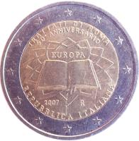 obverse of 2 Euro - Treaty of Rome (2007) coin with KM# 311 from Italy. Inscription: TRATTATI DI ROMA 50º ANNIVERSARIO EUROPA 2007 R REPUBBLICA ITALIANA