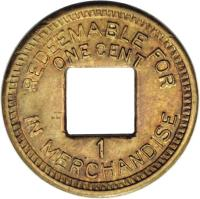 reverse of 1 Cent - Palo Seco Leprosarium (1919) coin with KM# Tn1 from Panama. Inscription: REDEEMABLE FOR ONE CENT 1 IN MERCHANDISE