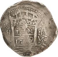 reverse of 8 Reales - Felipe IV - Colonial Cob Coinage (1659 - 1660) coin with KM# 18 from Peru.
