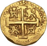 obverse of 8 Escudos - Fernando VI - Colonial Cob Coinage (1747 - 1750) coin with KM# 47 from Peru.